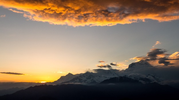 Sunset from Khopra Danda, Dhaulagiri, the eighth highest mountain in the world on the right.